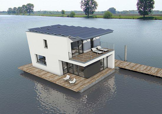Úszó lakóház napelemekkel